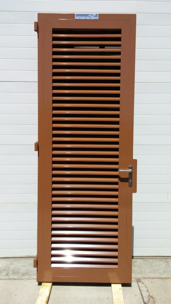 Powder coated industrial swing gate made of louvers